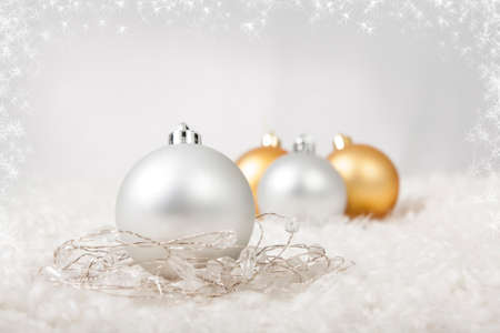 Christmas Decoration Balls with Starry Frame Stock Photo
