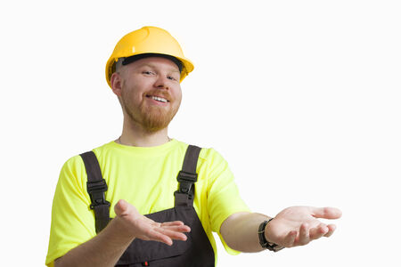 Worker with Presenting Expression against White Background