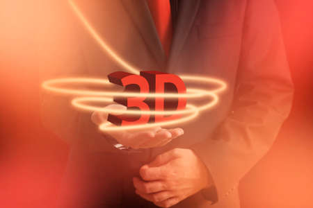 3d dimensional: Man Holding Three Dimensional 3D Icon in Hand