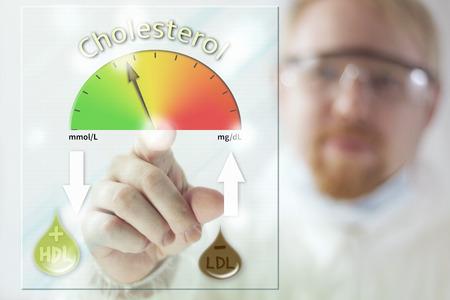 riesgo quimico: El médico y el nivel de colesterol en la pantalla del medidor