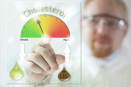 Physician and Cholesterol Level Meter at Screen Stock Photo
