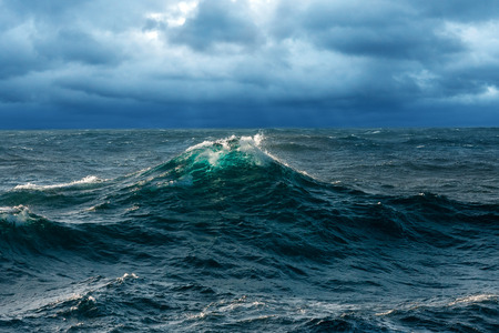Fresh Opaque Wave at Windy Seas Stock Photo