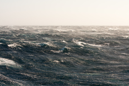 Stormy Winds Breaking Crests and Forming Streaks of Foam