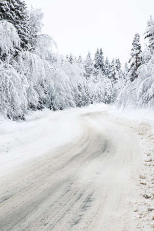 Curvy Snow Covered Rural Road In the Woods Stock Photo