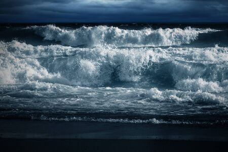 big waves: Big Waves Breaking at Shore Stock Photo