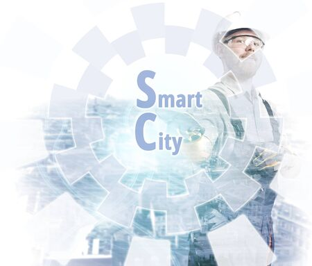 Engineer Pointing Smart City Screen Headline