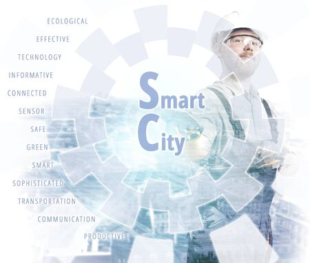 Engineer Pointing Smart City Screen Headline and Keywords Stock Photo