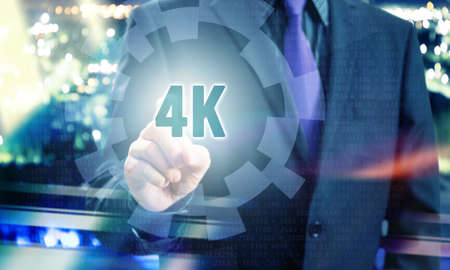 Businessman Pointing 4K Resolution in Communication Concept Image Stock Photo