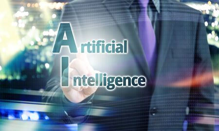 Businessman Pointing Artificial Intelligence text in a Blue Concept Image Stock Photo