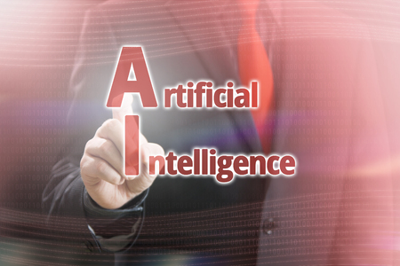 Businessman Pointing Artificial Intelligence text in a Red Concept Image Stock Photo