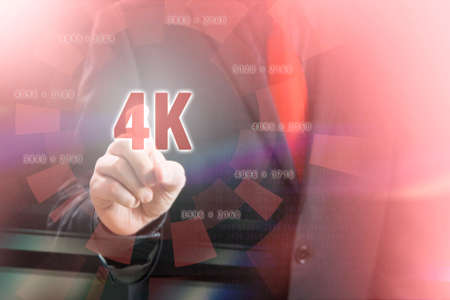 Businessman Pointing 4K Resolution  in Communication Concept Image