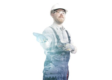 Double Exposure Portrait of Worker and City Stock Photo