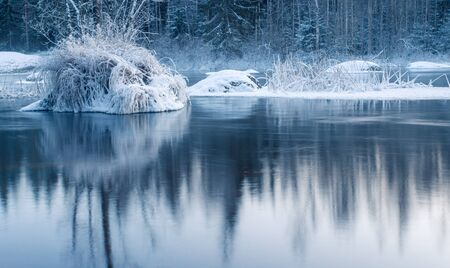 River Flowing Through Ice Cold Frosty Forest