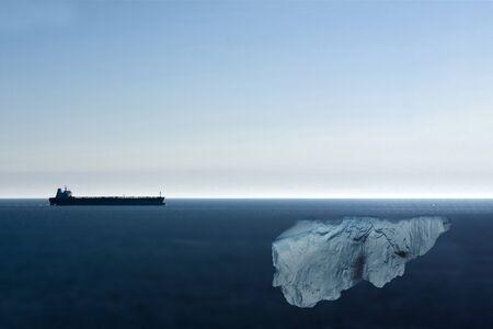Tanker Heading Towards Almost Totally Hidden Iceberg