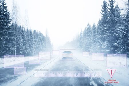 View of Autonomous Cars Sensors Scanning Surroundings and Road with no visible Lane markings 스톡 콘텐츠