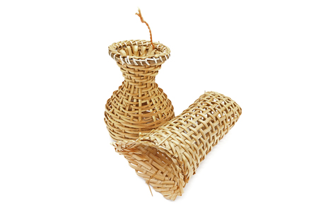 Fish trap Bamboo weave isolated on white background.