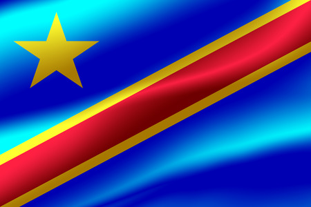 Flag of Democratic Republic of the Congo as the background.