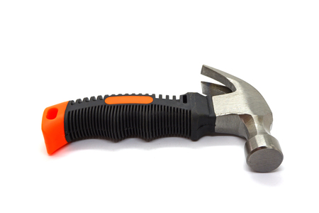 Hammer with black handle isolate on white background, Close-up
