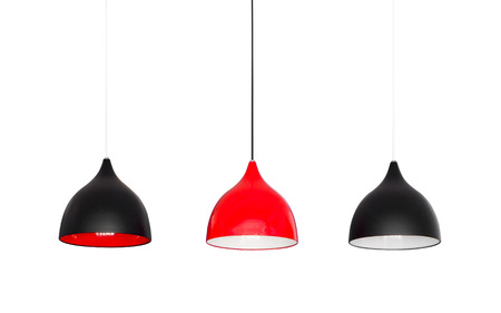Modern metal lamps hanging from the ceiling isolated on white background, clipping path.