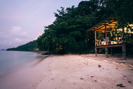 Koh Wai islands in Thailand. View of a seaside house summer background sea and sandy beautiful of ocean at dusk.