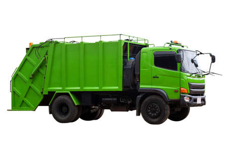 Garbage trucks into waste emptying containers for waste disposal in Thailand isolate on white background, Clipping path. Stock Photo