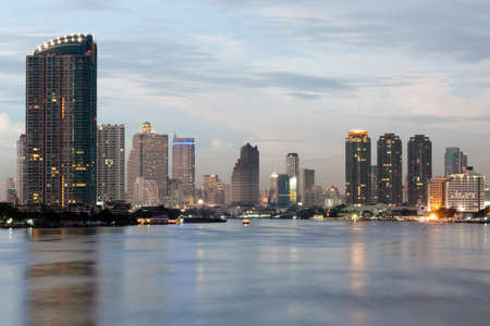 chao phraya river: View of Bangkok  city from Krungthep bridge in the middle of Chao Phraya river.