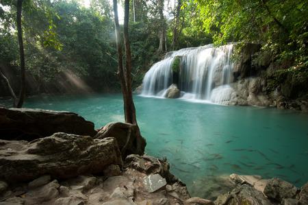 tier: Tier 2 of Erawan waterfall in Kanchanaburi, Thailand