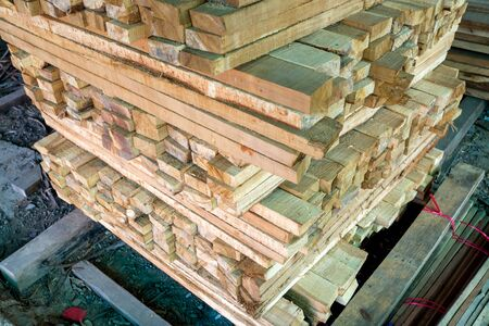treated board: Stack of rough sawn timber.