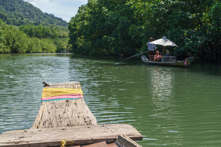 trat: Old rowing boats moving along green mangrove forest.