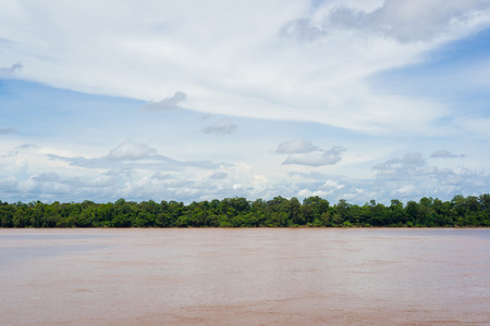 khong river: Mekong river and green forest of Laos with cloudy sky.