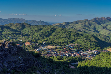 Small village in the valley in Pilok, Kanchanaburi, Thailand