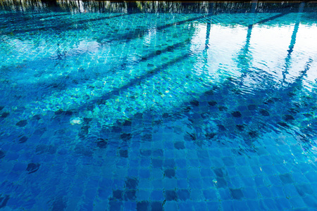 Reflection and shadow of trees on swimming pool with blue mosaic tiles.
