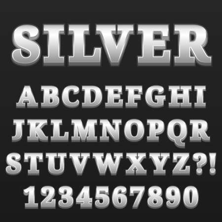 Letter Alphabet With Numbers Silver Glossy Style Design