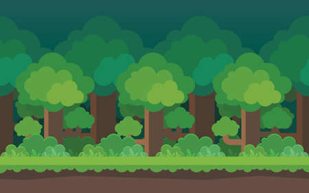 Cartoon forest seamless background Elements for mobile games Vettoriali