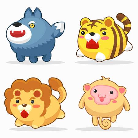Cute animals funny cartoon character set_1