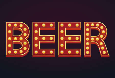 BEER banner alphabet sign marquee light bulb vintage