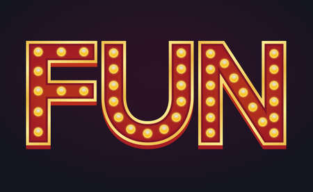 FUN banner alphabet sign marquee light bulb vintage