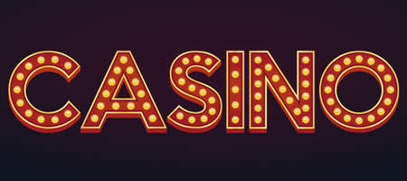 CASINO alphabet sign marquee light bulb vintage carnival or circus style ,Vector illustration Ilustração