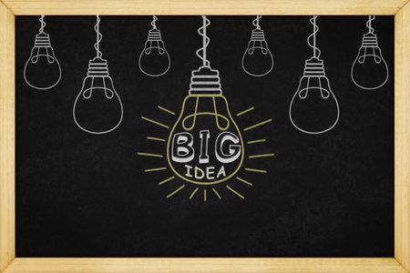 Light bulb big idea concept design on blackboard with wooden frame, for background texture Standard-Bild - 161797501
