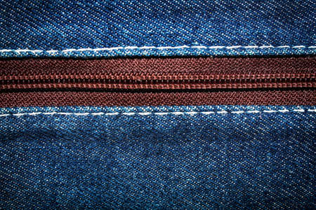 Blue denim jeans texture background with zipper,close up,select focus with shallow depth of field Standard-Bild - 161799676