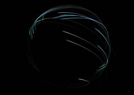 Neon cirkels op beweging. Digitaal lijnwervelingssleepeffect. Abstract lichtgevend ringen langzame sluitertijdeffect. Licht schilderij . Abstracte lijn ronde vormen.