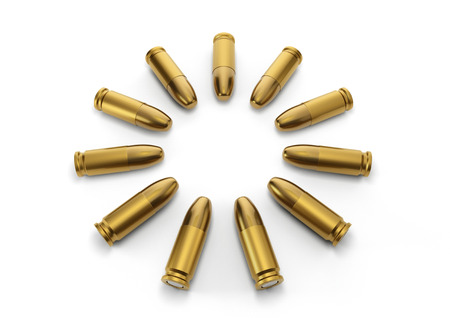 9mm bullets for a gun point in center with isolated on a white background