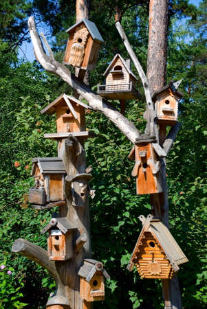 Birdhouses on a pole for decoration  Stock Photo