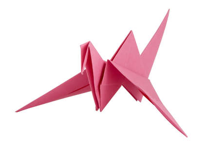 Traditional Japanese origami crane, isolated