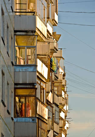 Balcony of an apartment house on the skyline Stock Photo