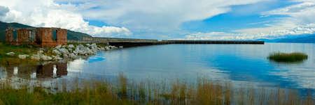 The concrete pier on Lake Baikal, Russia