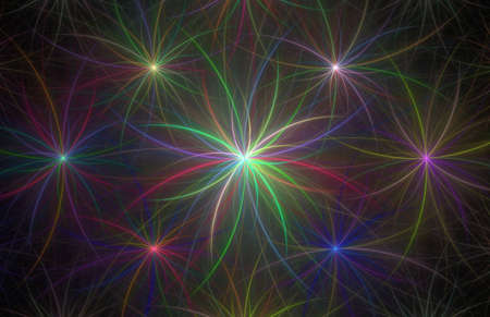 Fractal with glowing stars on a black background Stock Photo