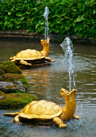 A small fountain of a two turtle in Peterhof, St-peterburg  Russia