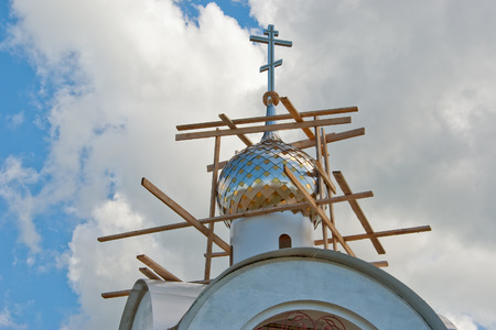 The dome of the orthodox chapel on the restoration.