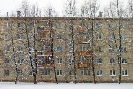 Brick house and a trees in winter, heavy snowfall. Russia Stock Photo